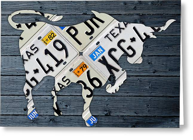 Old Barns Mixed Media Greeting Cards - Texas Longhorn Vintage License Plate Art on Blue Gray Barn Wood Greeting Card by Design Turnpike