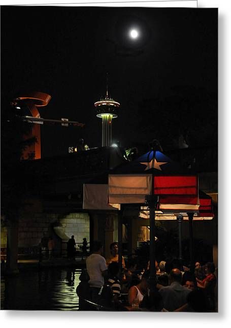 Riverwalk Greeting Cards - Texas Moon Greeting Card by Steven Sparks