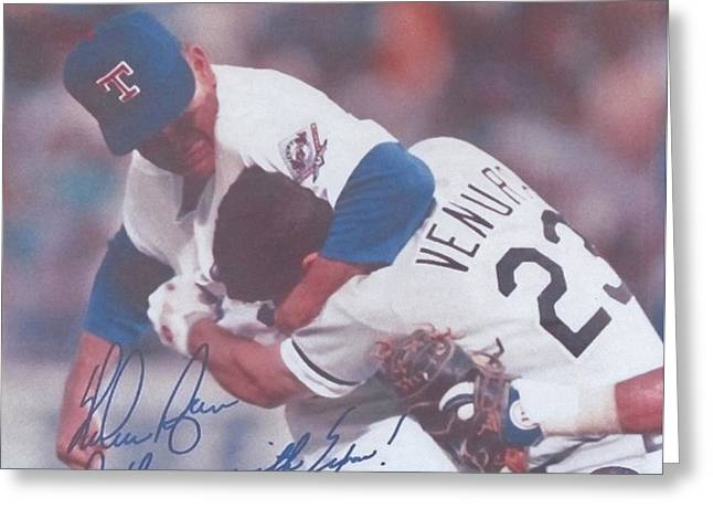 Texas Rangers Nolan Ryan Don't Mess With Texas The Fight On The Mound Greeting Card by Donna Wilson