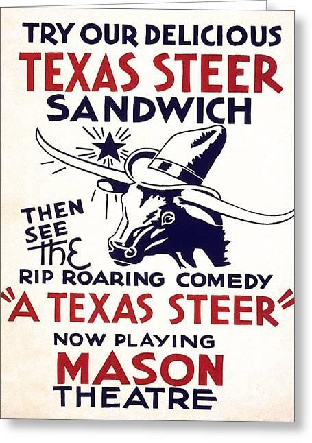 Playbill Greeting Cards - TEXAS RESTAURANT MENU and THEATER PLAYBILL  1936 Greeting Card by Daniel Hagerman