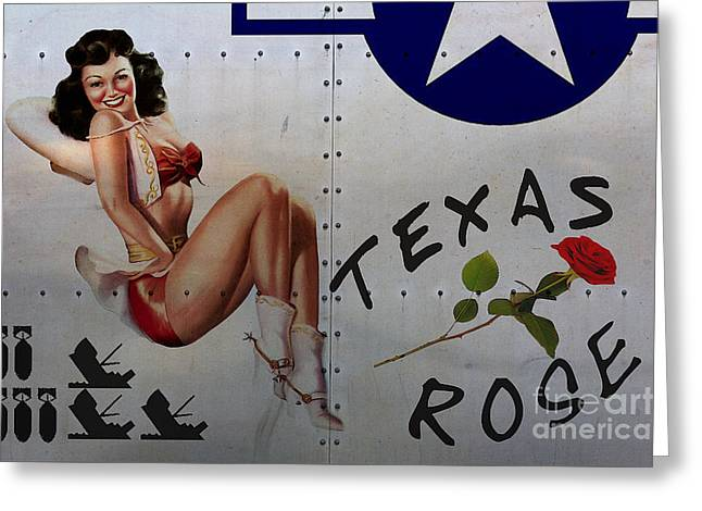 Nose Art Greeting Cards - Texas Rose Noseart Greeting Card by Cinema Photography