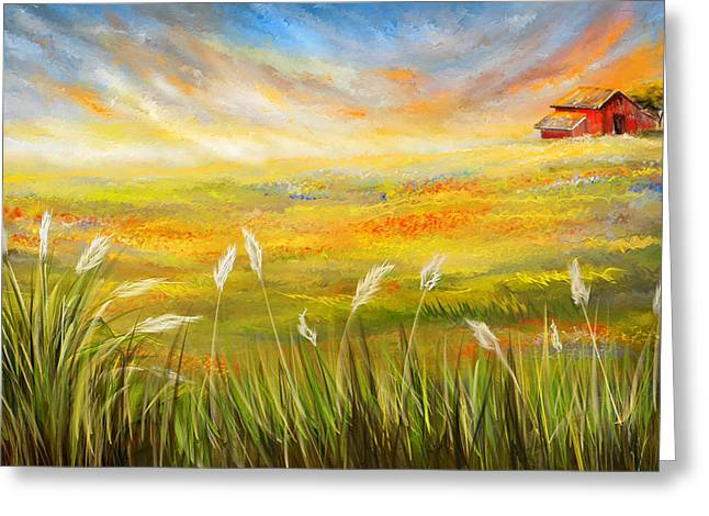 State Flowers Greeting Cards - Texas Scene - Texas Art Greeting Card by Lourry Legarde