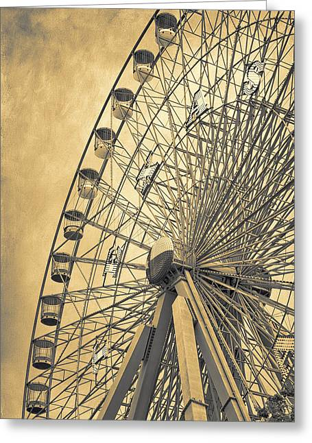 Spokes Greeting Cards - Texas Star Gold Greeting Card by Joan Carroll