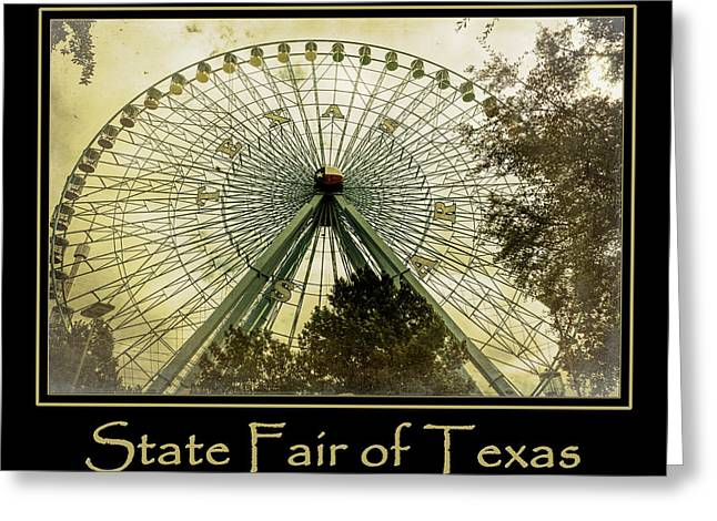 Amusements Greeting Cards - Texas Star Gold Poster Greeting Card by Joan Carroll