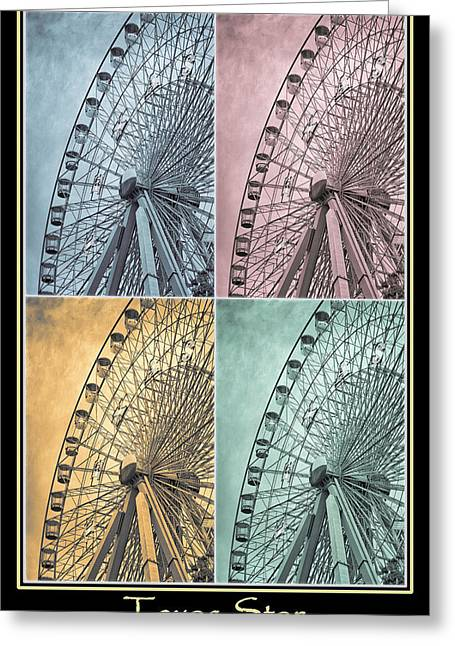 Amusements Greeting Cards - Texas Star Poster 2 Greeting Card by Joan Carroll