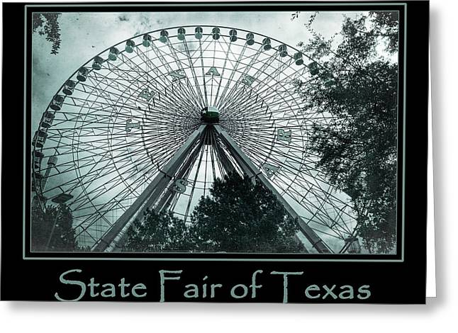 Theme Park Greeting Cards - Texas Star Aqua Poster Greeting Card by Joan Carroll