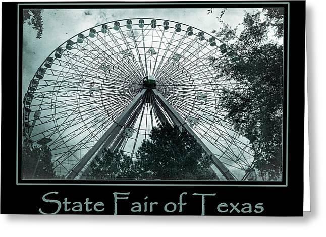 Amusements Greeting Cards - Texas Star Aqua Poster Greeting Card by Joan Carroll