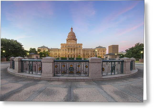Austin Landmarks Greeting Cards - Texas State Capitol Pastel Sunrise 1 Greeting Card by Rob Greebon
