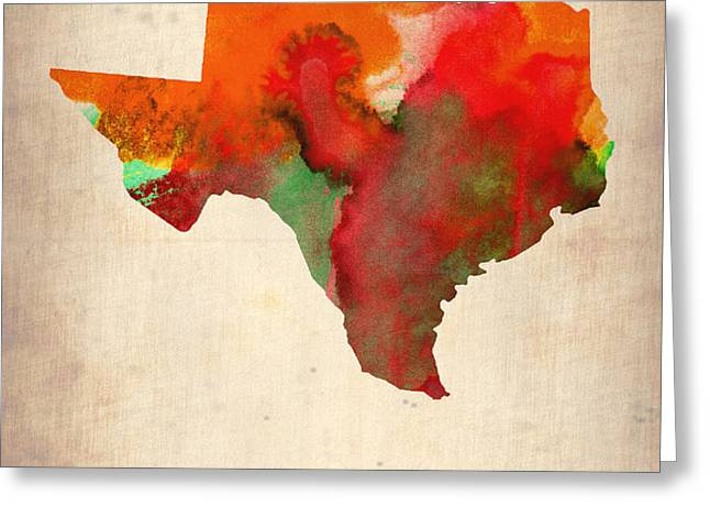 Texas Watercolor Map Greeting Card by Naxart Studio