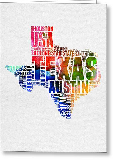 4th July Greeting Cards - Texas Watercolor Word Cloud  Greeting Card by Naxart Studio