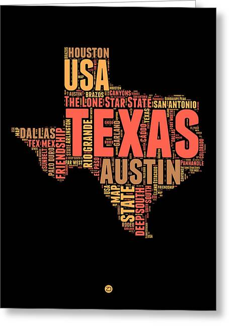4th July Greeting Cards - Texas Word Cloud 1 Greeting Card by Naxart Studio