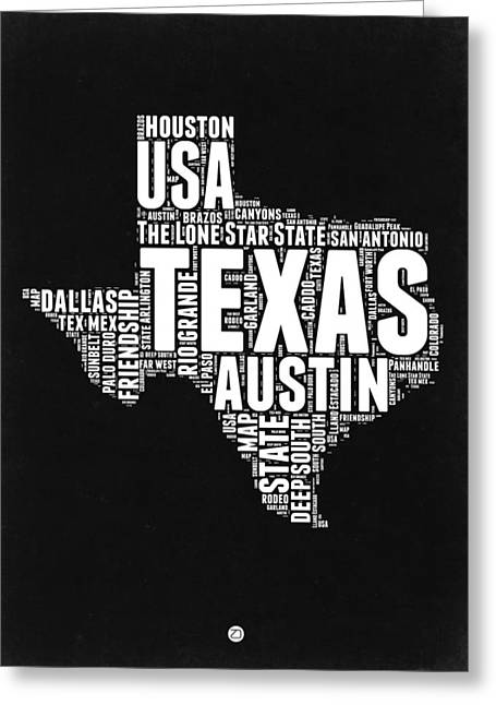 Texas Word Cloud Black And White Map Greeting Card by Naxart Studio