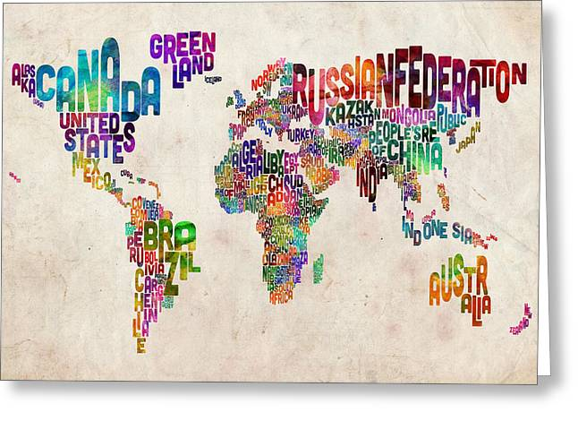 Urban Watercolour Greeting Cards - Text Map of the World Greeting Card by Michael Tompsett