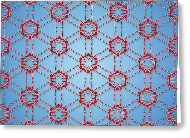 Medical Greeting Cards - textile pattern Molecular red star Greeting Card by Jozef Jankola
