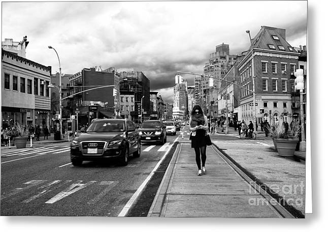 Texting On 7th Avenue Greeting Card by John Rizzuto