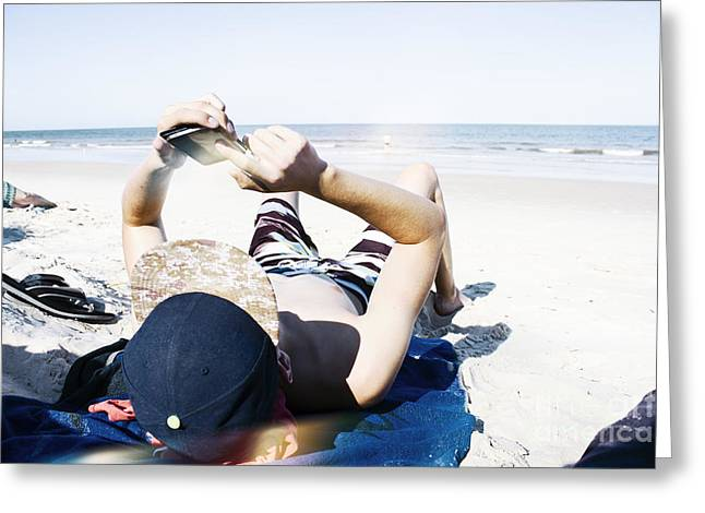 Texting Teenage Man Greeting Card by Jorgo Photography - Wall Art Gallery