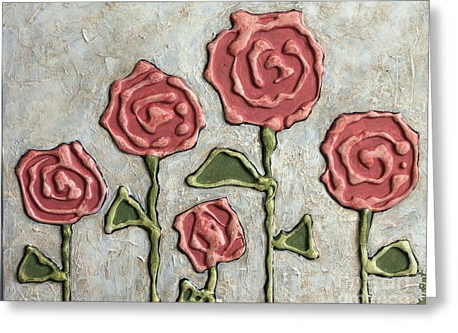 Texture Blooms In Antique Rose Greeting Card by Stewalynn Art
