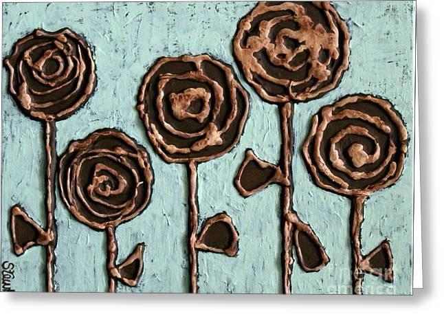 Texture Blooms In Brown Greeting Card by Stewalynn Art