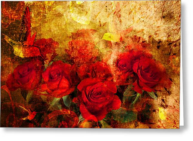 Floral Digital Art Greeting Cards - Texture Roses Greeting Card by Svetlana Sewell