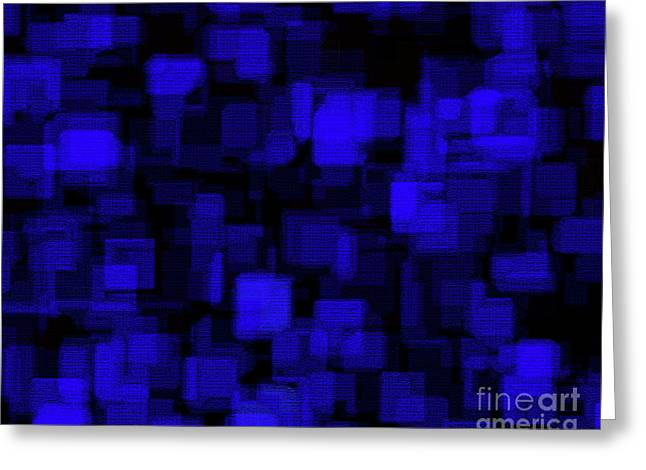 Blue Blocks Greeting Cards - Textured Abstract Blue Blocks Greeting Card by Andee Design