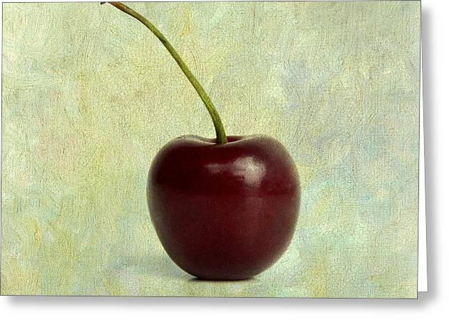 Textured Cherry. Greeting Card by Bernard Jaubert