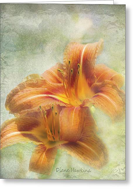 Day Lilly Greeting Cards - Textured daylilies  Greeting Card by Diane Hawkins