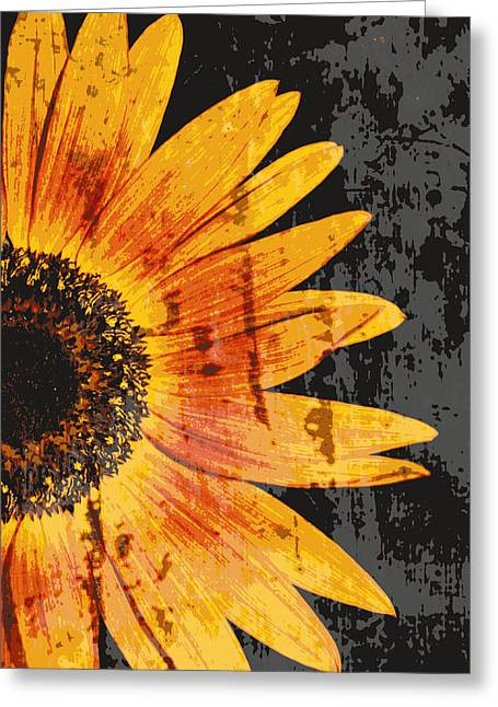 Northwest Flowers Greeting Cards - Textured Sunflower Greeting Card by Cathie Tyler