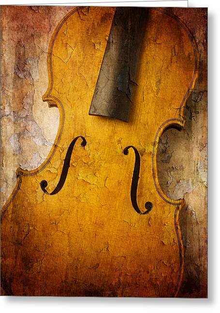 Textured Violin Greeting Card by Garry Gay