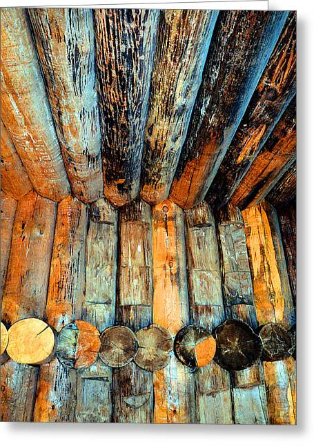Log Cabins Greeting Cards - Textures. Ancient log house. Greeting Card by Andy Za