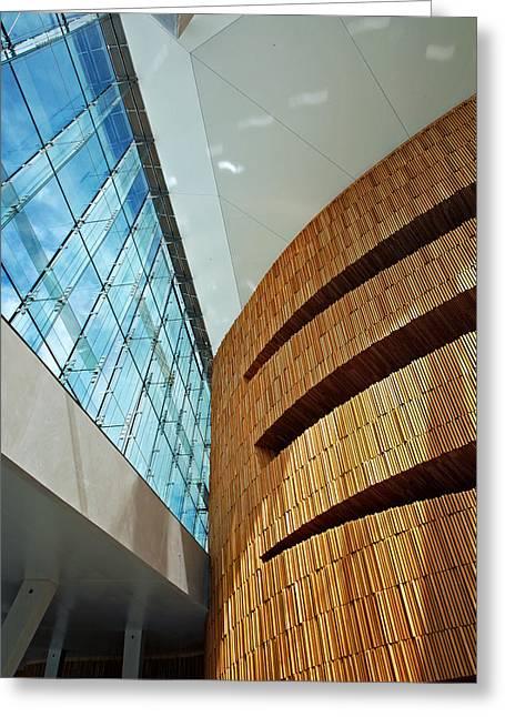 Textures And Light Inside Oslo Opera House Greeting Card by Kabir Khiatani