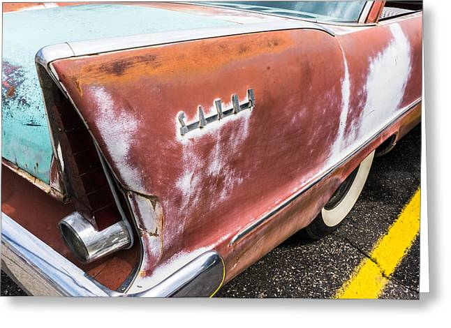 Rusted Cars Greeting Cards - 50s Tail Fin Greeting Card by Jim Hughes