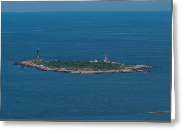 Thacher Island Lights Greeting Card by Joshua House