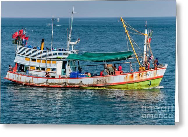 Fishing Boats Digital Greeting Cards - Thai Fishing Greeting Card by Adrian Evans