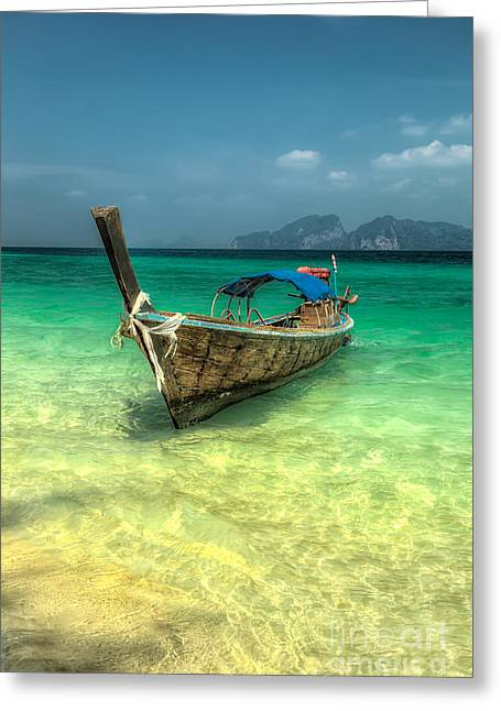 Shallows Greeting Cards - Thai Longboat  Greeting Card by Adrian Evans