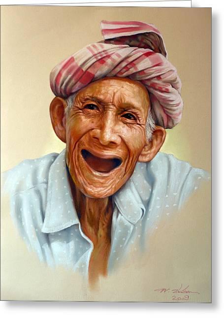Thai Pastels Greeting Cards - Thai old man2 Greeting Card by Chonkhet Phanwichien