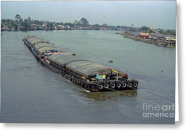 Transport Pyrography Greeting Cards - Thai River Barge Transportation Greeting Card by Nicholas  Allaniaris