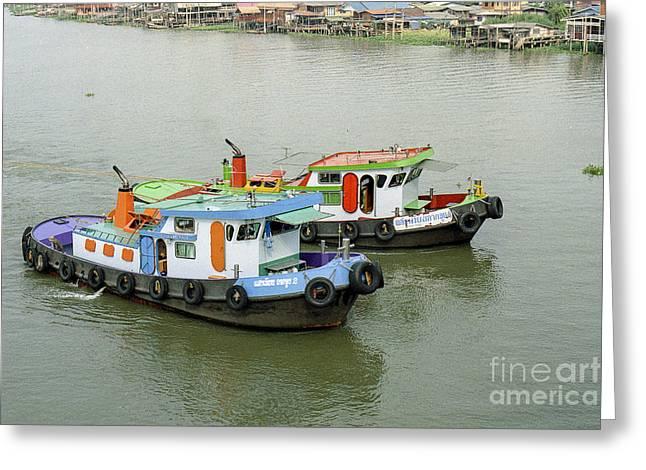 Boat Cruise Pyrography Greeting Cards - Thai Tugboats-Nikon FM2n  Greeting Card by Nicholas  Allaniaris