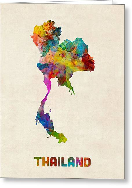 Thailand Greeting Cards - Thailand Watercolor Map Greeting Card by Michael Tompsett
