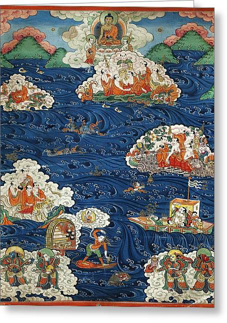 Parable Greeting Cards - Thangka with Buddhist parable of the Arhats Greeting Card by Anonymous from Tibet