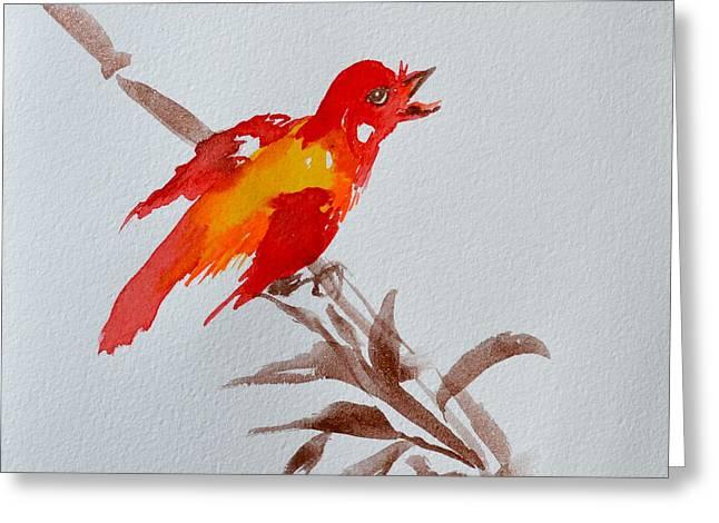Beverley Harper Tinsley Greeting Cards - Thank You Bird Greeting Card by Beverley Harper Tinsley