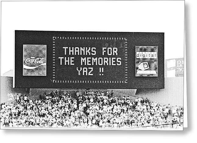 Boston Red Sox Greeting Cards - Thanks Yaz Greeting Card by Mike Martin