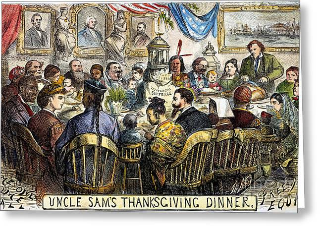 Recently Sold -  - Nast Greeting Cards - Thanksgiving Cartoon, 1869 Greeting Card by Granger