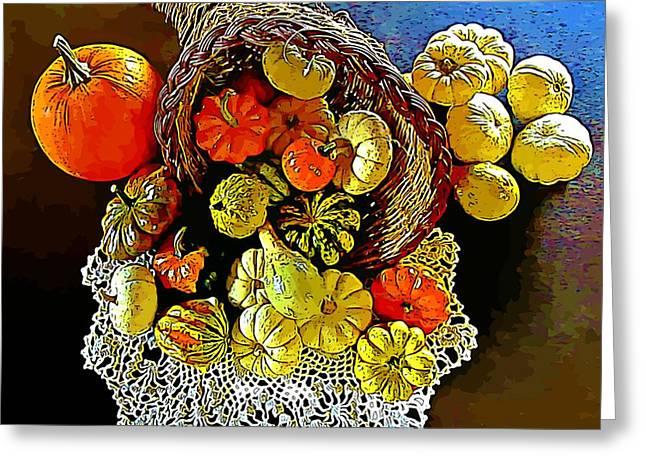 Thanksgiving Horn Of Plenty Greeting Card by John Malone