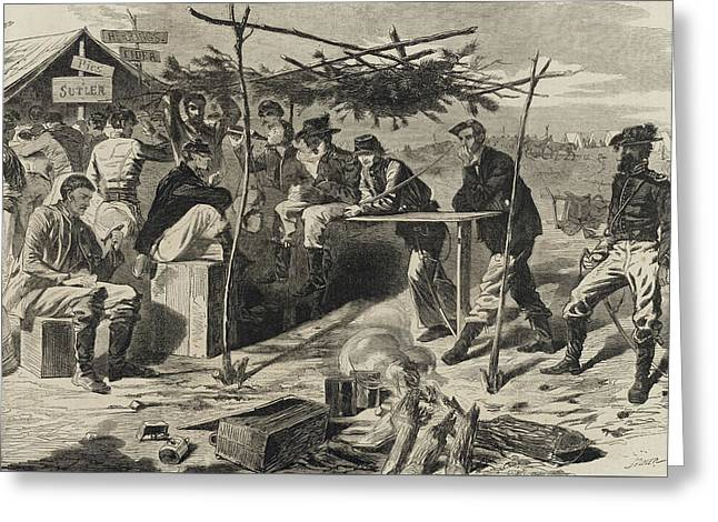 Thanksgiving In Camp Greeting Card by Winslow Homer