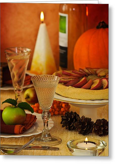 Thanksgiving Greeting Cards - Thanksgiving Table Greeting Card by Amanda And Christopher Elwell