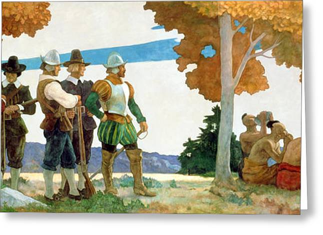 Thanksgiving With Indians Greeting Card by Newell Convers Wyeth