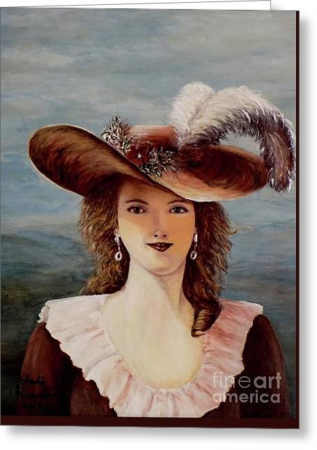 That Feather In Her Hat Greeting Card by Judy Kirouac