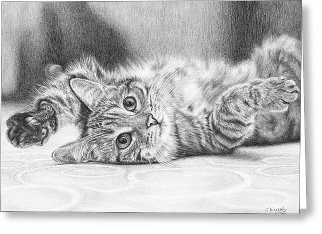 Kitten Prints Greeting Cards - That Monday Feeling Greeting Card by Frances Vincent