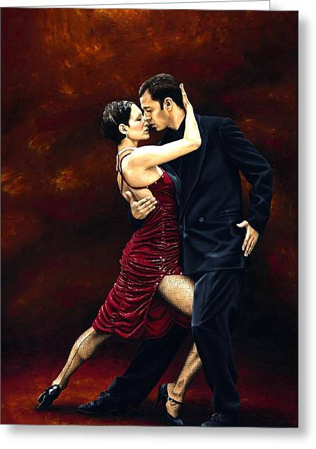Couple Embracing Greeting Cards - That Tango Moment Greeting Card by Richard Young