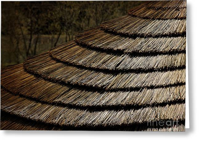 Bamboo House Greeting Cards - Thatch Roof  Greeting Card by Tom Gari Gallery-Three-Photography